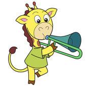 Cartoon Giraffe Playing a Trombone — Stock Vector
