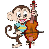 Cartoon Monkey Playing a Cello — Stock Vector
