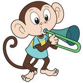 Cartoon Monkey Playing a Trombone — Stock Vector