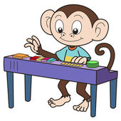 Cartoon Monkey Playing an Electronic Organ — Stock Vector