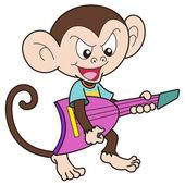 Cartoon Monkey Playing an Electric Guitar — Stock Vector