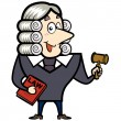 Cartoon Judge with a Gavel and Law Book — Stock Vector
