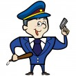 Cartoon Police Officer Man with Gun - Stock Vector