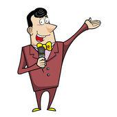Cartoon Host Emcee with Microphone — Stock Vector