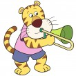 Cartoon Tiger Playing a Trombone — Stock Vector