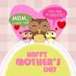 Stock Vector: Happy mothers day, cute background. vector illustration