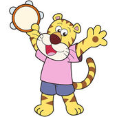 Karikatura tygr hrát tamburína. — Stock vektor