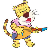 Cartoon Tiger Playing an Electric Guitar — Stockvektor