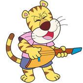Karikatura tygr hrát elektrická kytara — Stock vektor