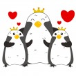 Stock Vector: Cute penguin family