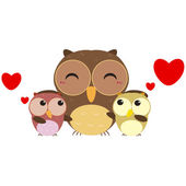 Cute owl family — Stock Vector