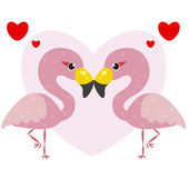 One pair of cute flamingos — Stock Vector