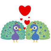 One pair of cute peacocks — Stock Vector