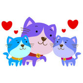 Cute cat family — Stock Vector