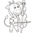 Cartoon Giraffe Playing a Cello - Stock Vector