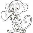Cartoon Monkey Playing a Trumpet — ベクター素材ストック