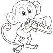 Stock Vector: Cartoon Monkey Playing Trombone