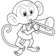 Cartoon Monkey Playing a Trombone - Stock Vector