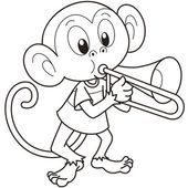 Cartoon Monkey Playing a Trombone — Stock Vector