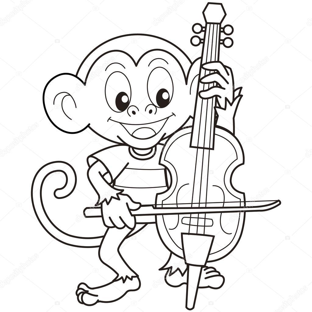 Mono de dibujos animados tocando un violonchelo — vector