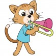 Cartoon Cat Playing a Trombone - Stock Vector