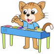 Stock Vector: Cartoon Cat Playing Electronic Organ