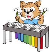 Bir vibrafon oynarken karikatür kedi. — Stok Vektör