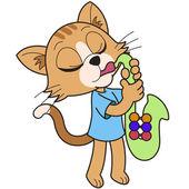 Dibujos animados gato tocando un saxofón — Vector de stock