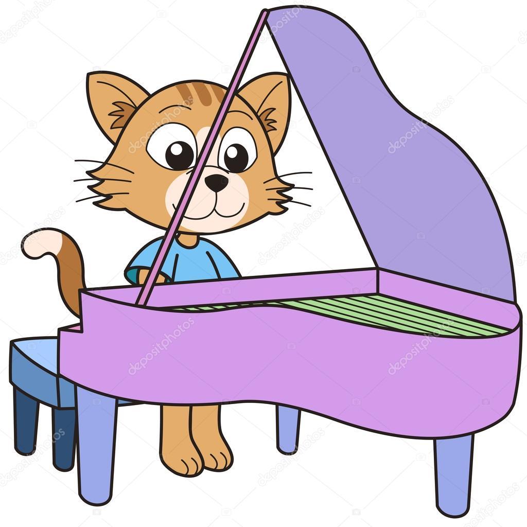 卡通猫弹钢琴 — 图库矢量图片#22547367