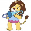 Stock Vector: Cartoon Lion Playing Trombone