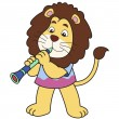 Cartoon Lion Playing Clarinet — Stock Vector #22550799