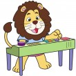 Stock Vector: Cartoon Lion Playing Electronic Organ
