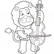 Cartoon Lion Playing a Cello - Stock Vector