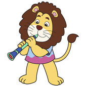 Cartoon Lion Playing a Clarinet — Stock Vector