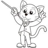 Cartoon Cat Music Conductor — Stock Vector
