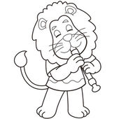 Cartoon Lion Playing an Oboe — Stock Vector
