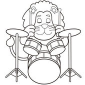 Cartoon Lion Playing Drums — Stock Vector