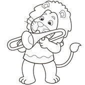 Cartoon Lion Playing a Trombone — Stock Vector