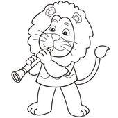 Cartoon leeuw een klarinet spelen — Stockvector