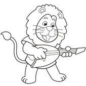 Elektro gitar çalmak karikatür aslan — Stok Vektör