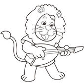 León de dibujos animados tocando una guitarra eléctrica — Vector de stock