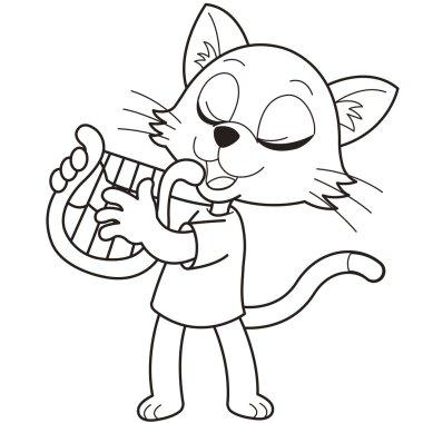 Cartoon Cat Playing a Harp