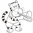 Cartoon Tiger Playing a Trombone - Stock Vector