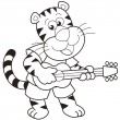 Stock Vector: Cartoon Tiger Playing Guitar