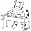 Stock Vector: Cartoon Tiger Playing Electronic Organ