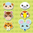 Royalty-Free Stock Vector Image: Six Cute Cartoon Animal Head Stickers