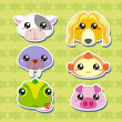 Six Cute Cartoon Animal Head Stickers — Stock Vector