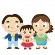 Illustration of cute family with white — Stock Vector #22734145