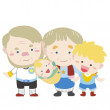 Illustration of cute family with white — Stock Vector #22734149