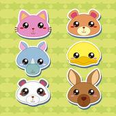 六个可爱卡通动物头贴纸 — 图库矢量图片